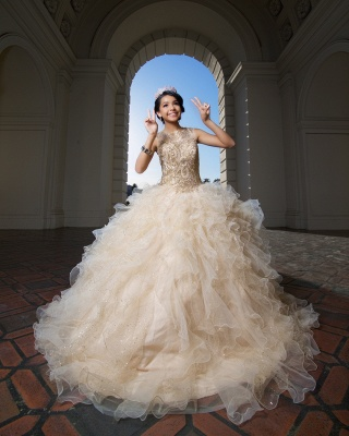 Fascinating Jewel Ruffles Appliques Ball Gown Quinceanera Dresses | Beadings 15 Dresses Long_3
