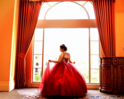 Fabulous Red Jewel Beadings Ball Gown XV Dresses | Sleeveless Quinceanera Dresses Long_5