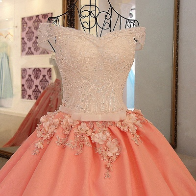 Elegant Beading Ribbon Bow Ball Gown Quinceanera Dresses_4