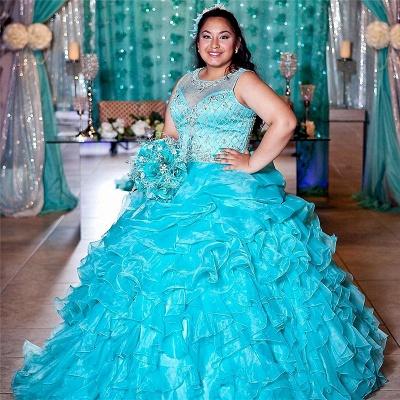 Exquisito joya azul Listones Vestidos de fiesta de quinceañera | Ruffles Sweet 16 vestidos largos_1