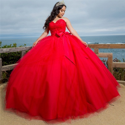Gorgeous Red Sweetheart Sleeveless Shining Beadings Quinceanera Dresses | Belted Ball Gown XV Dresses_1