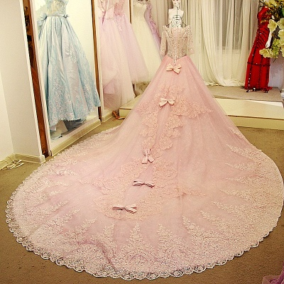 Illusion Tulle Long-Sleeves Chapel Train Quinceanera Dress_3