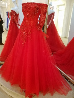 Off-the-shoulder Floor Length Crystal Beading Tulle Quinceanera Dresses with Sleeves_2