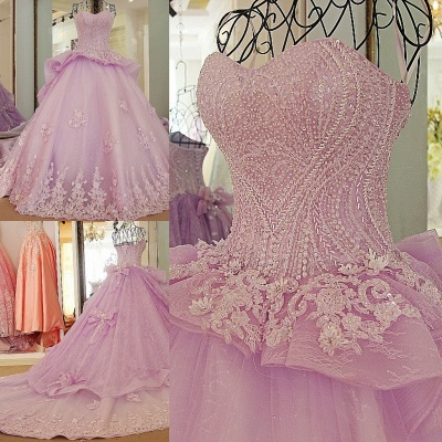 Strapless Sweetheart Beading Bows Quinceanera Dress_1