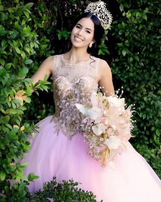 Excelente Blush Pink Jewel Appliques vestido de bola Vestidos de membrillo | Listones XV Vestidos Largos_3