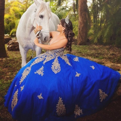 Fabulous Royal Blue Sweetheart Ball-Gown Appliques XV Dresses | Floor-Length Quinceanera Dresses_1