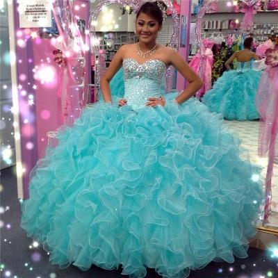 Excelente cari_o azul abalorios vestido de bola vestidos de membrillo | Volantes XV Vestidos largos_1
