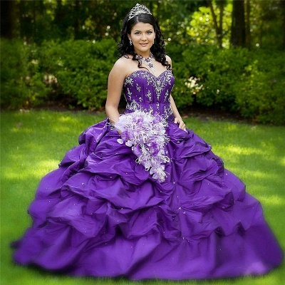 Charming Purple Halter Ball Gown Appliques Quince Dresses | Pick-Up 16 Dresses Long_1