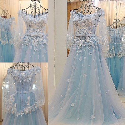 Long Sleeves Tulle Flower Appliques Quinceanera Dresses_1