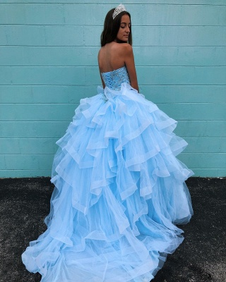 Marvelous Light Blue Beadings Ball Gown Sweet 16 Dresses | Tiered Quinceanera Dresses Long_3