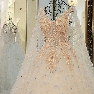 Tulle Straps Appliques Long Quinceanera Dress_2