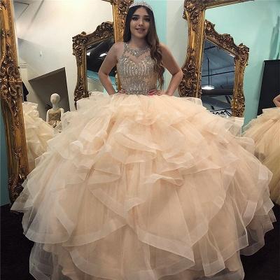 Marvelous Jewel Beadings Ball Gown Sweet 16 Dresses | Cascading Ruffles Quinceanera Dresses Long_1
