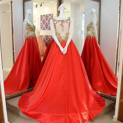 Sequins Beading Sleeveless Red Long Quinceanera Dresses_2