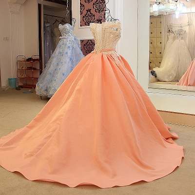 Ball-gown Off-the-shoulder Appliques Sash Quinceanera Dresses_2