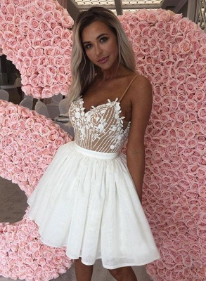 Sexy mini vestido de regreso a casa | apliques de gasa blanca correas espaguetis_3