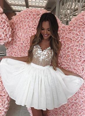 Sexy mini vestido de regreso a casa | apliques de gasa blanca correas espaguetis_2