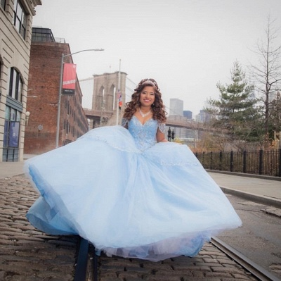 Exquisite Off-the-shoulder Ball Gown Quinceanera Dresses | Beadings Sweet 16 Dresses Long_3