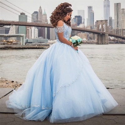 Exquisite Off-the-shoulder Ball Gown Quinceanera Dresses | Beadings Sweet 16 Dresses Long_2