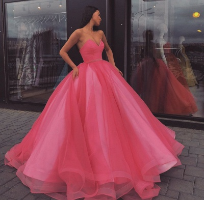 Fabulous Sweetheart Ball Gown Prom Dresses | Simple Floor Length Evening Dresses_4