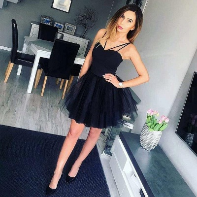 Trendy Spaghetti-Straps Romantic Sweetheart Short Quinceanera Tulle Dama Dress_3