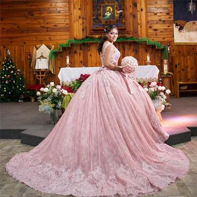 Apliques de vestido de bola joya con encanto vestidos de membrillo | Encaje tren barrido 16 vestidos_2
