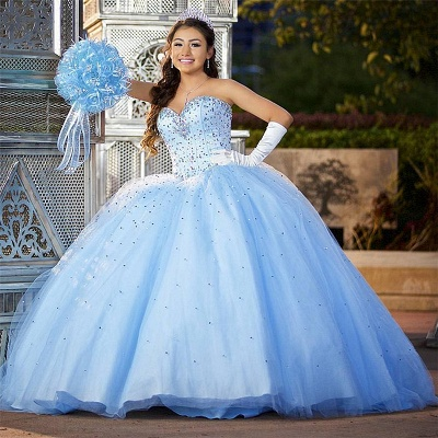 Marvelous Blue Sweetheart Beadings Ball Gown Sweet 16 Dresses | Stunning Quinceanera Dresses Long_1