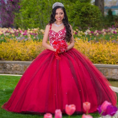 Beautiful Burgundy Sweetheart Ball Gown Quinceanera Dresses | Lace Sweet 16 Dresses Long_1