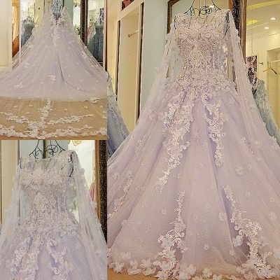 Tulle Appliques Jewel Sleeveless Quinceanera Dress_6