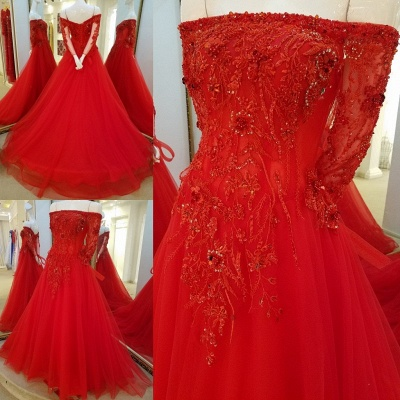 Off-the-shoulder Floor Length Crystal Beading Tulle Quinceanera Dresses with Sleeves_1
