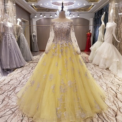 Off-the-shoulder Long Sleeves Flower Lace-up Quinceanera Dresses_2