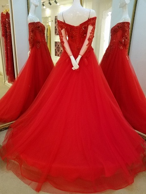 Off-the-shoulder Floor Length Crystal Beading Tulle Quinceanera Dresses with Sleeves_3