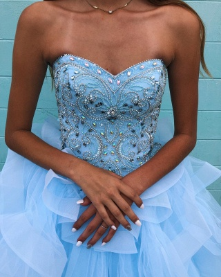 Marvelous Light Blue Beadings Ball Gown Sweet 16 Dresses | Tiered Quinceanera Dresses Long_4