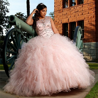 Fascinante rosa joya con volantes vestido de bola vestidos de quinceañera | Listones 15 vestidos largos_1