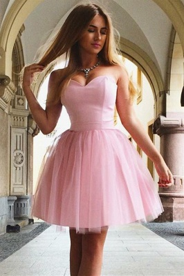Pink Romantic Sweetheart Strapless Quinceanera Short Dama Dress_1
