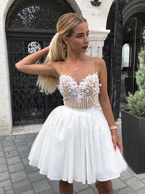 Sexy mini vestido de regreso a casa | apliques de gasa blanca correas espaguetis_1