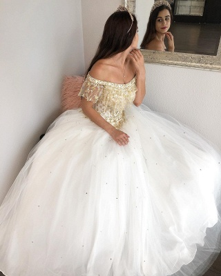 Fabulous Off-the-shoulder Beadings Ball Gown XV Dresses | Lace Quinceanera Dresses Long_2