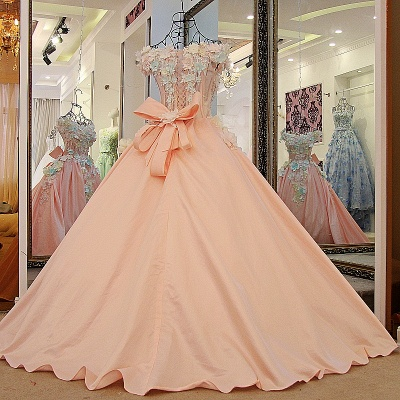 3-D Flowers Sleeveless Ball-gown Ribbon Knot Quinceanera Dresses_2