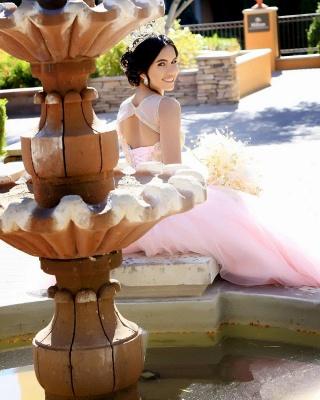 Excelente Blush Pink Jewel Appliques vestido de bola Vestidos de membrillo | Listones XV Vestidos Largos_2