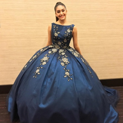 Exquisito azul marino Bateau Ball Ball Sweep Train Vestidos de quinceañera | Bordado Dulce 16 Vestidos Largos_1