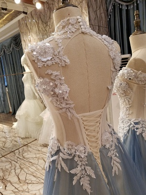 Sleeveless Appliques Top Long Tulle Quinceanera Dresses_3