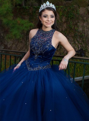 Attractive Ink Blue Jewel Beadings Sleeveless Sweet 16 Dresses | Ball Gown Quince Dresses Long_3