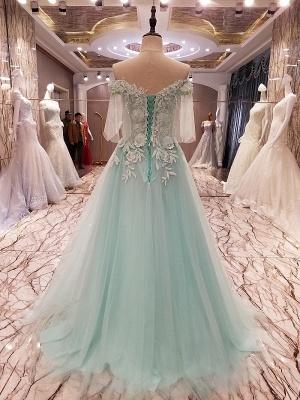 Elegant Lace-up Appliqued Tulle Floor Length Quinceanera Dresses_2