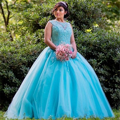 Exquisite Blue Jewel Beadings Ball Gown Quinceanera Dresses | Appliques Sweet 16 Dresses Long_1