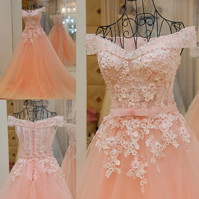 Off-the-shoulder Tulle Appliqued Long Quinceanera Dresses_1