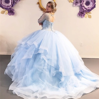 Gorgeous Jewel Beadings Ball Gown Quinceanera Dresses | Long-sleeves Layered Ball Gown XV Dresses_2