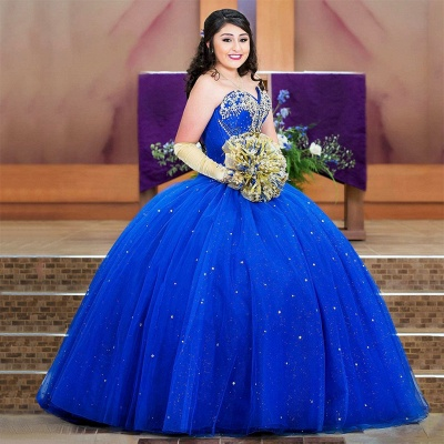 Attractive Royal Blue Sweetheart Beadings Sleeveless Sweet 16 Dresses | Ball Gown Quince Dresses Long_1