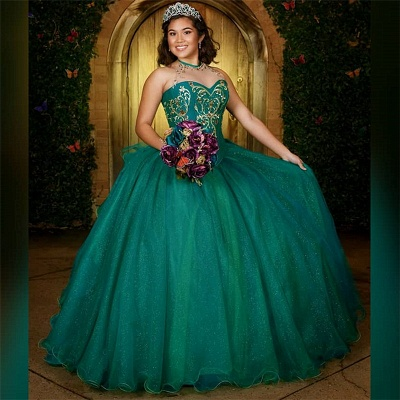 Wonderful Green Jewel Sleeveless Embroidery 15 Dresses | Beadings Quinceanera Dresses Long_1