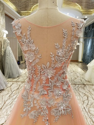 Pink Sleeveless Appliques Tulle Brush Train Quinceanera Dresses_5