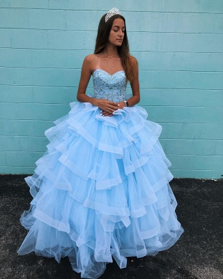 Marvelous Light Blue Beadings Ball Gown Sweet 16 Dresses | Tiered Quinceanera Dresses Long_2