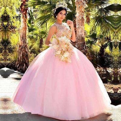Excelente Blush Pink Jewel Appliques vestido de bola Vestidos de membrillo | Listones XV Vestidos Largos_1